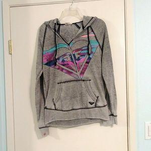 Roxy Grey Sweatshirt with Spray Paint Logo